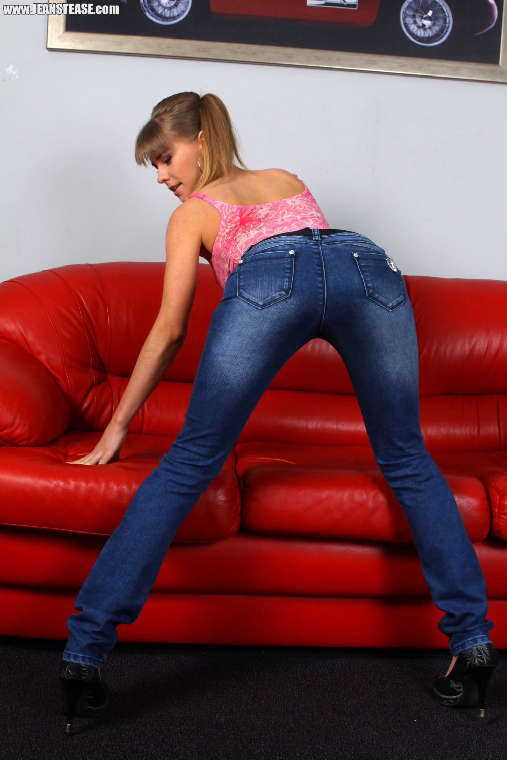 Jeans tease tight girls